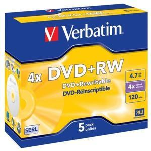 DVD +RW VERBATIM 4,7 GB, jewel box , 4 x, 5 ks