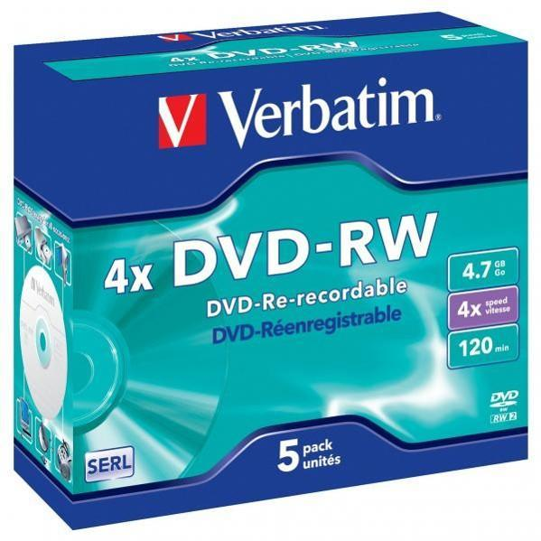 DVD -RW VERBATIM 4,7 GB, jewel box, 4x, 5 ks