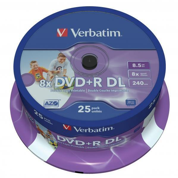 DVD +R VERBATIM 8,5 GB, cake box 25 ks, Double Layer, Wide Printable